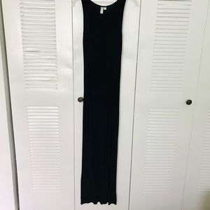 Feathers Black Maxi Dress with knee slits-size M